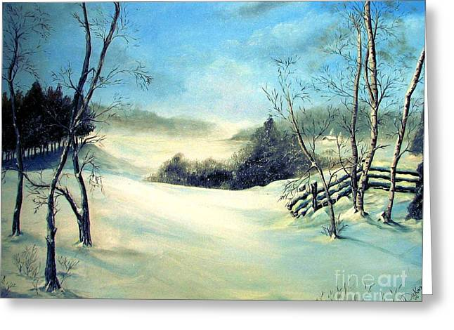 Snow Flurries Greeting Card by Anna-Maria Dickinson