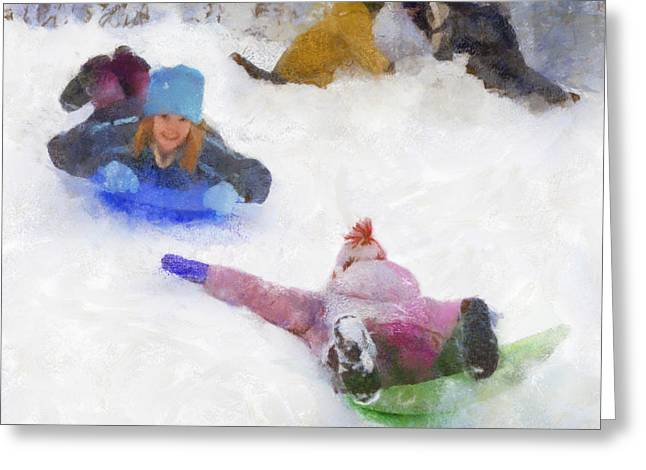 Snow Fun Greeting Card by Francesa Miller
