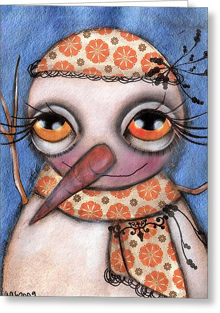 Snow Girl Greeting Card by  Abril Andrade Griffith