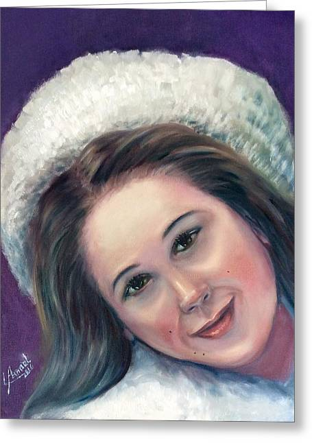Greeting Card featuring the painting Snow Girl  by Laila Awad Jamaleldin