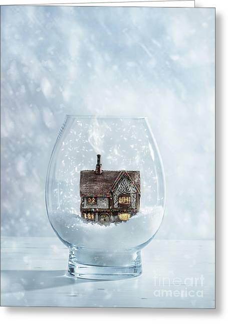 Snow Globe With Country Cottage Greeting Card by Amanda Elwell
