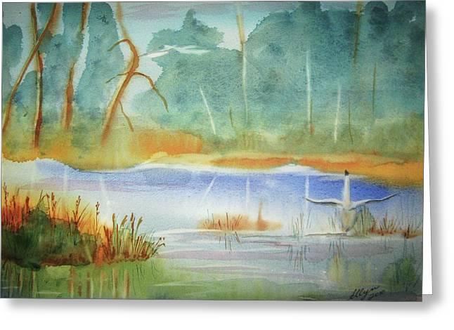 Snow Geese Paintings Greeting Cards - Snow Goose Landing Greeting Card by Ellen Levinson