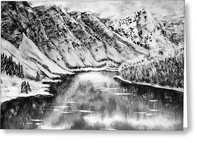 Snow In November Black And White Greeting Card by Katreen Queen