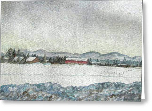 Snow In The Berkshires Greeting Card by Judy Riggenbach