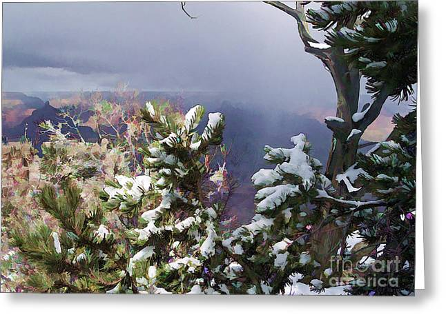 Greeting Card featuring the photograph Snow In The Canyon by Roberta Byram