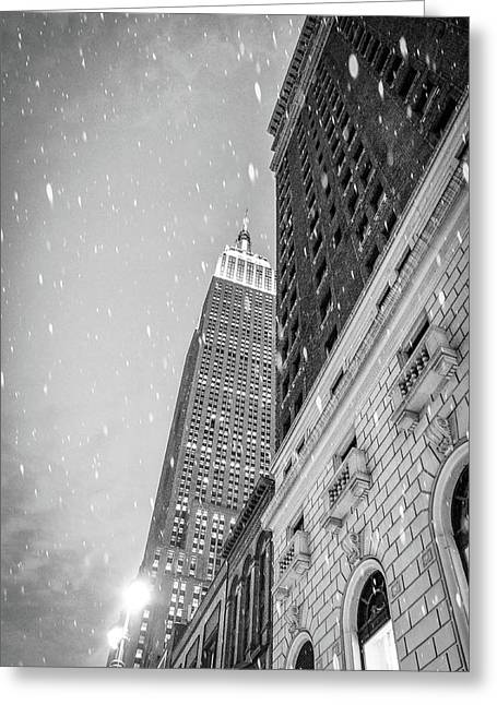 Snow In The City Greeting Card by Rick Grossman