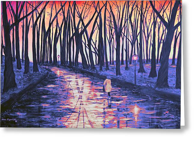Snow In The Park At Sunset Greeting Card by Ken Figurski