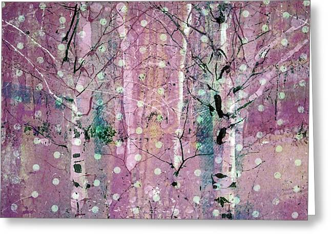 Snow Falling In The Pastel Forest Greeting Card