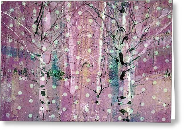 Snow Falling In The Pastel Forest Greeting Card by Tara Turner