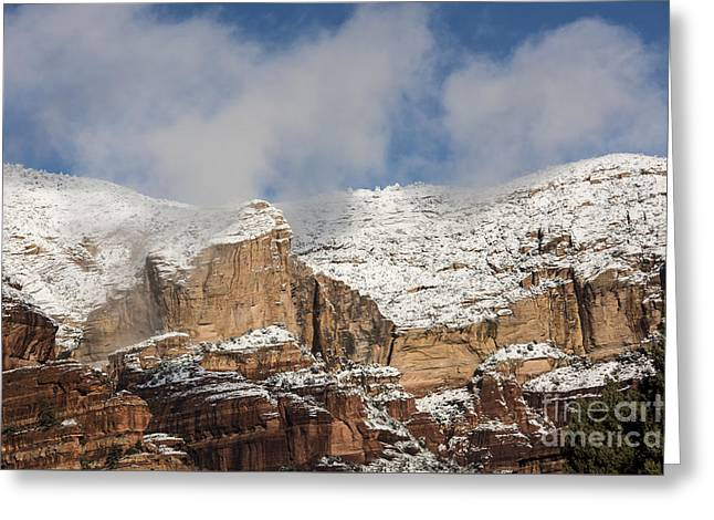 Greeting Card featuring the photograph Snow Kissed Morning In Sedona, Az by Sandra Bronstein