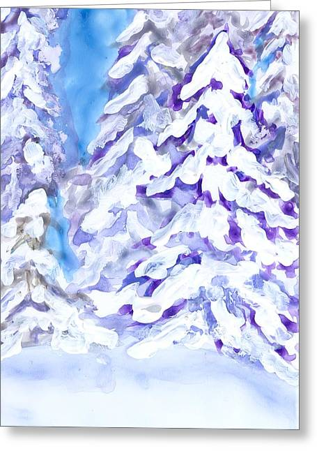 Snow Laden Trees Greeting Card by Wanda Pepin