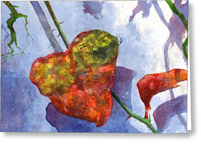 Greeting Card featuring the painting Snow Leaf by Andrew King