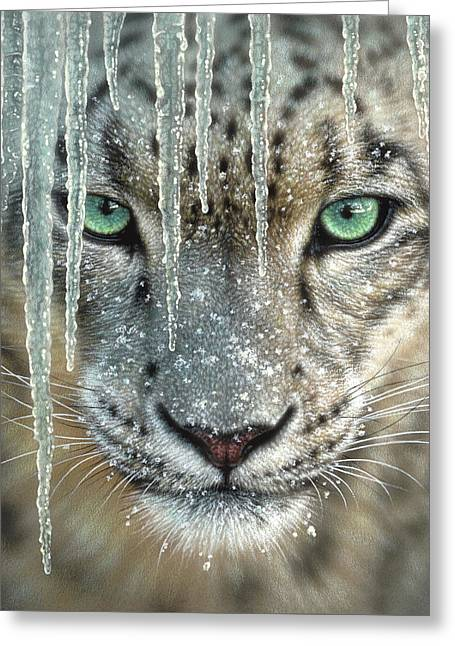 Snow Leopard - Blue Ice Greeting Card