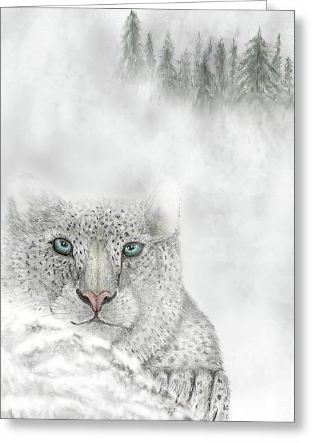 Greeting Card featuring the digital art Snow Leopard by Darren Cannell
