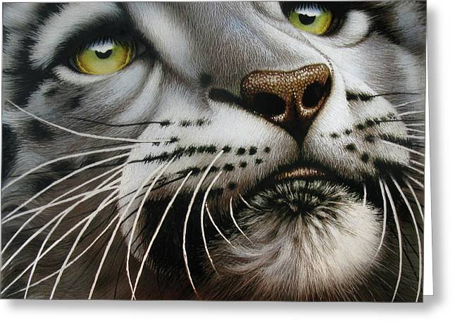 Snow Leopard On Glass Greeting Card