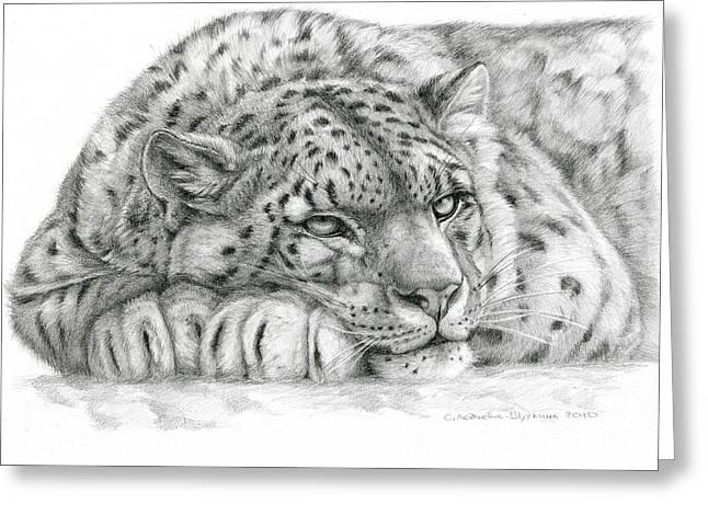 Snow Leopard Greeting Card by Svetlana Ledneva-Schukina