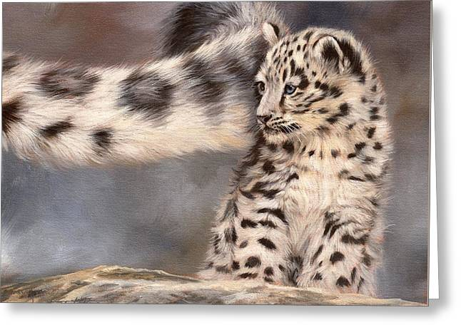 Snow Leopard Tail Greeting Card by David Stribbling