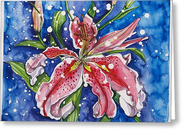 Snow Lilies Greeting Card by Sheri Gundry