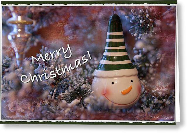 Snow Man Smile Greeting Card
