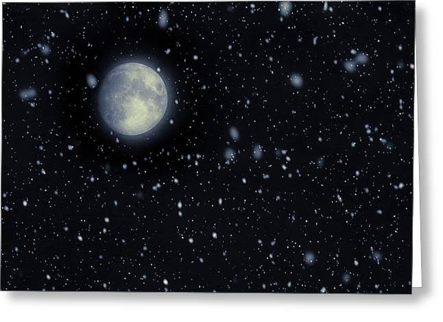 Snow Moon February 2017 Greeting Card by Terry DeLuco