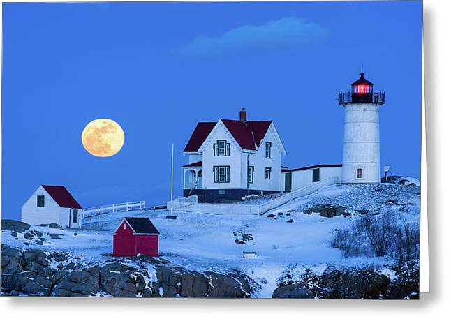 Snow Moon Greeting Card by Michael Blanchette