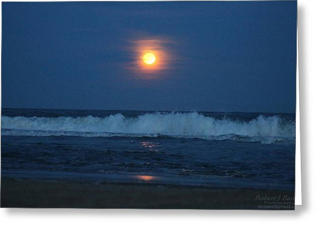 Snow Moon Ocean Waves Greeting Card