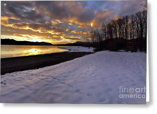 Snow On Beach Greeting Card