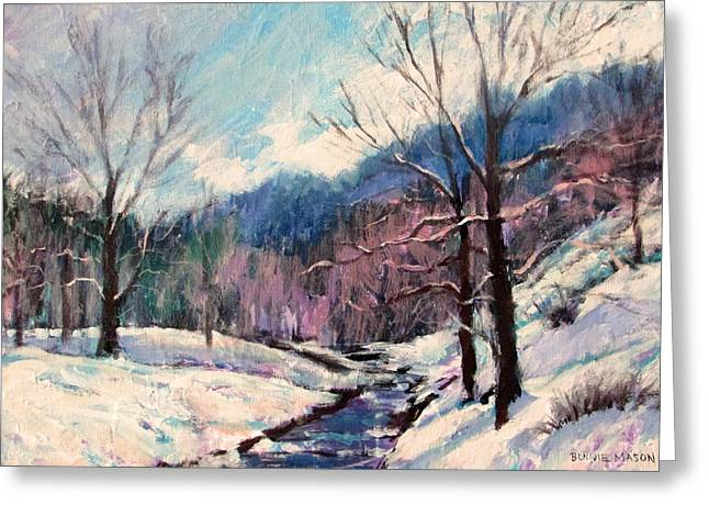 Snow On Goose Creek Greeting Card by Bonnie Mason