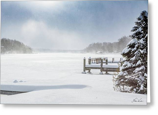 Snow On Lake Charlevoix Greeting Card