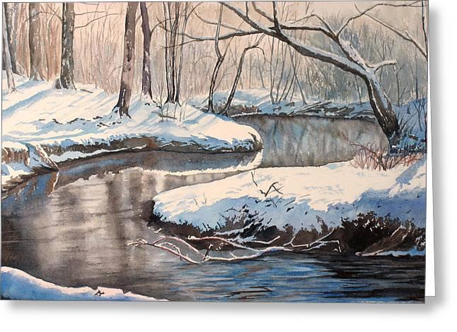 Snow On Riverbank Greeting Card by Debbie Homewood