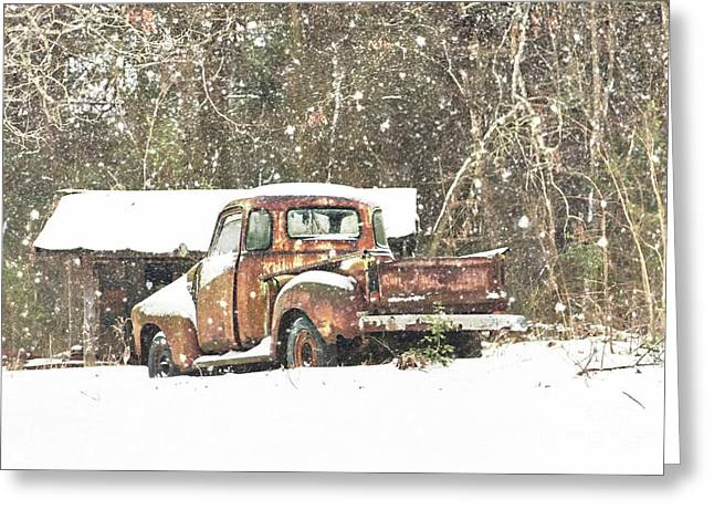 Snow On The Chevy Greeting Card