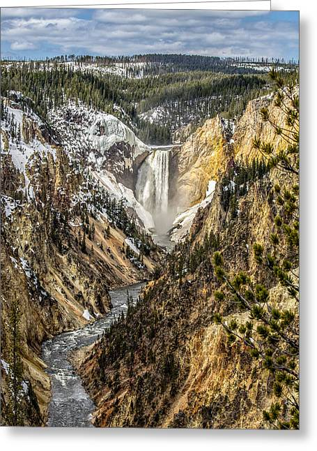 Snow On The Falls Greeting Card by Yeates Photography