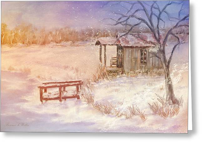 Snow On The Fishing Pond Greeting Card