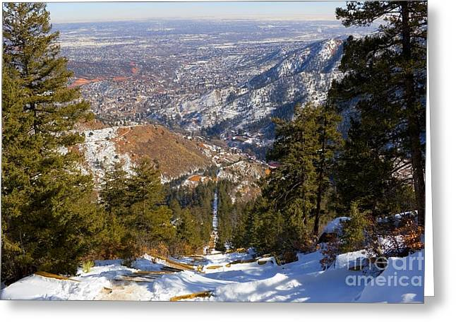 Snow On The Manitou Incline In Wintertime Greeting Card
