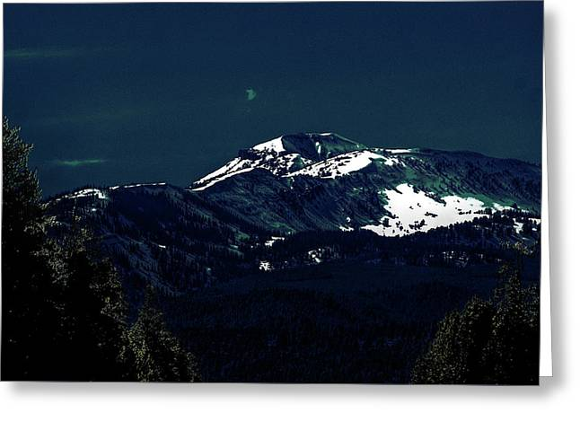 Snow On The Mountain At Night Greeting Card