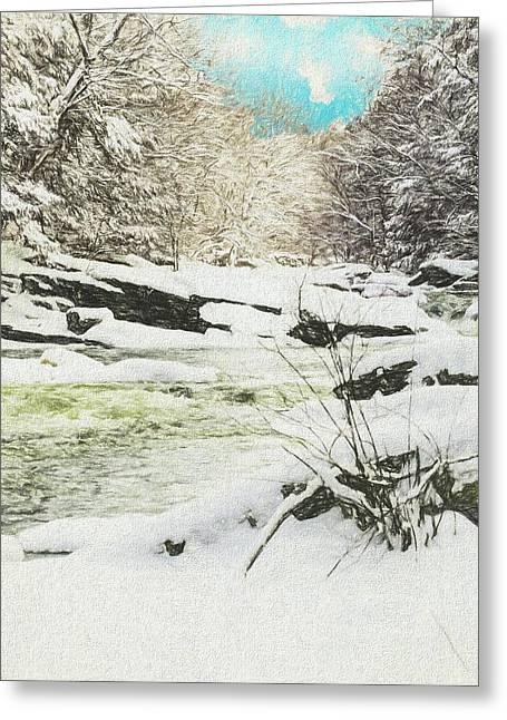Snow On The Natchaug Greeting Card