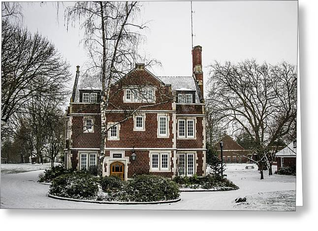 Snow On The Old Dorms Greeting Card by Rudy Owens