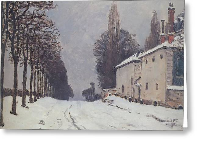 Snow On The Road Louveciennes Greeting Card