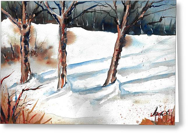 Snow Orchard Greeting Card