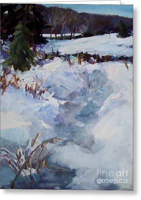 Greeting Card featuring the painting Snow Path by Diane Ursin