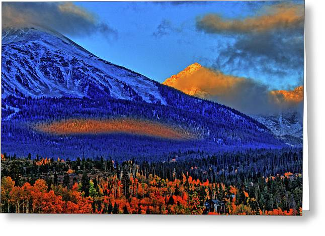 Greeting Card featuring the photograph Snow Peak Fall by Scott Mahon