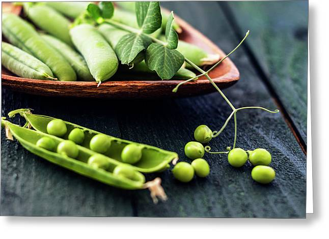 Snow Peas Or Green Peas Still Life Greeting Card by Vishwanath Bhat