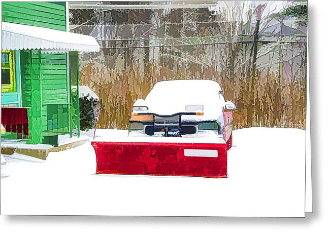 Snow Plow Truck 2 Greeting Card by Lanjee Chee