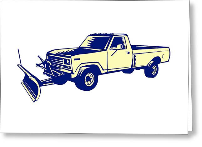 Snow Plow Truck Woodcut Greeting Card
