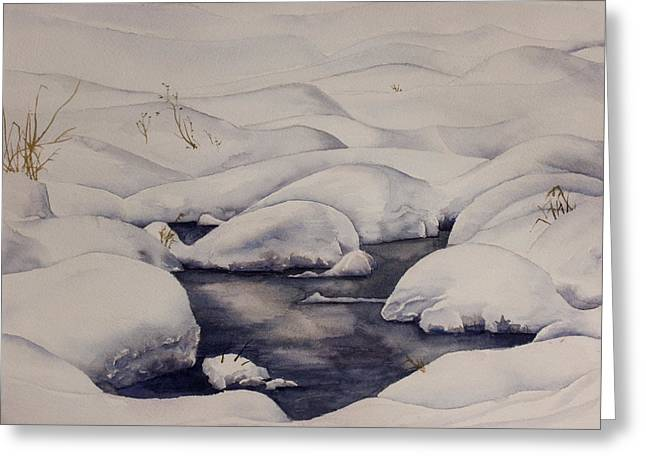 Snow Pool Greeting Card by Debbie Homewood