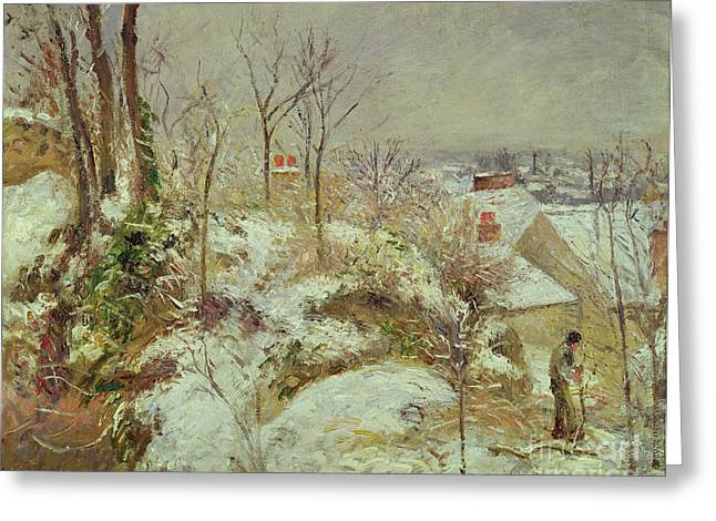 Snow White Greeting Cards - Snow Scene Greeting Card by Camille Pissarro