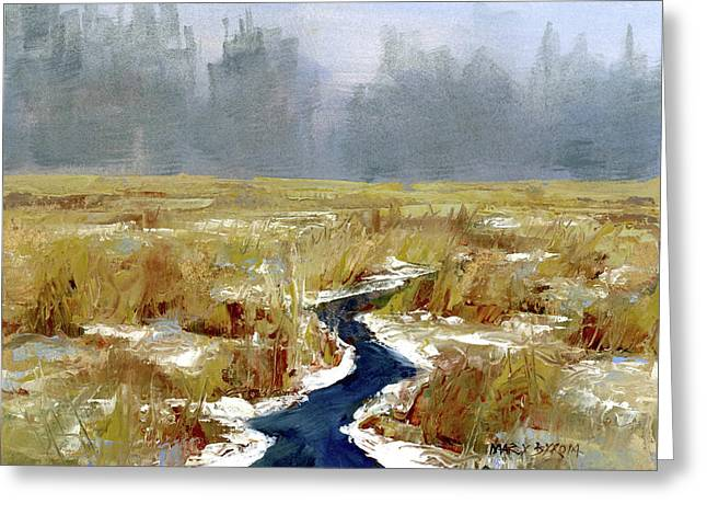 Snow Squall Greeting Card by Mary Byrom