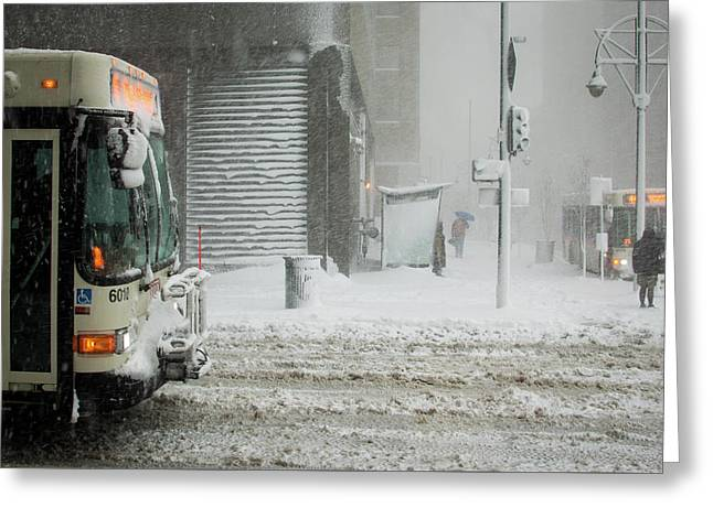 Greeting Card featuring the photograph Snow Storm Bus Stop by Stephen Holst