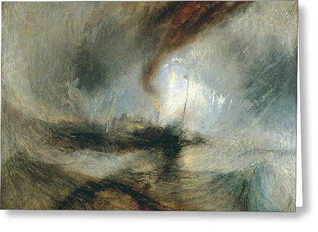 Greeting Card featuring the painting Snow Storm by Joseph Mallord William Turner
