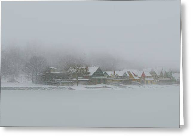 Snow Storm On Boathouse Row Philadelphia Greeting Card